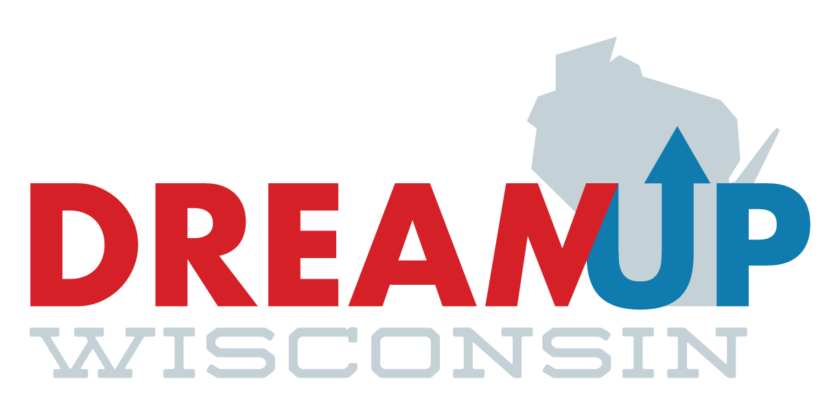 DreamUp Wisconsin logo text and image of Wisconsin