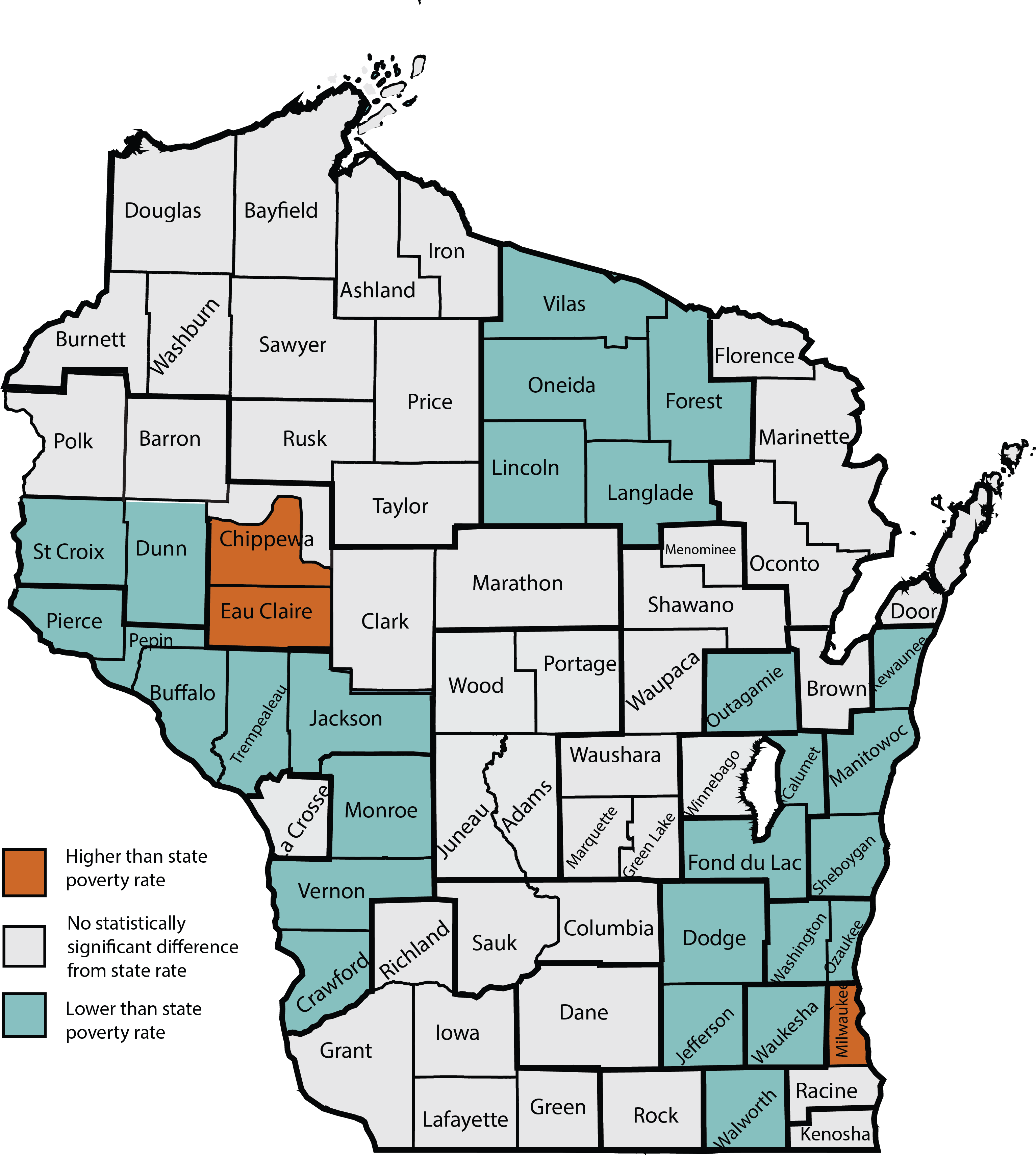state of wisconsin map with counties Who Is Poor In Wisconsin Institute For Research On Poverty Uw