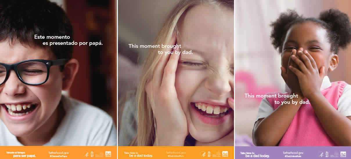 Three photos of children laughing.