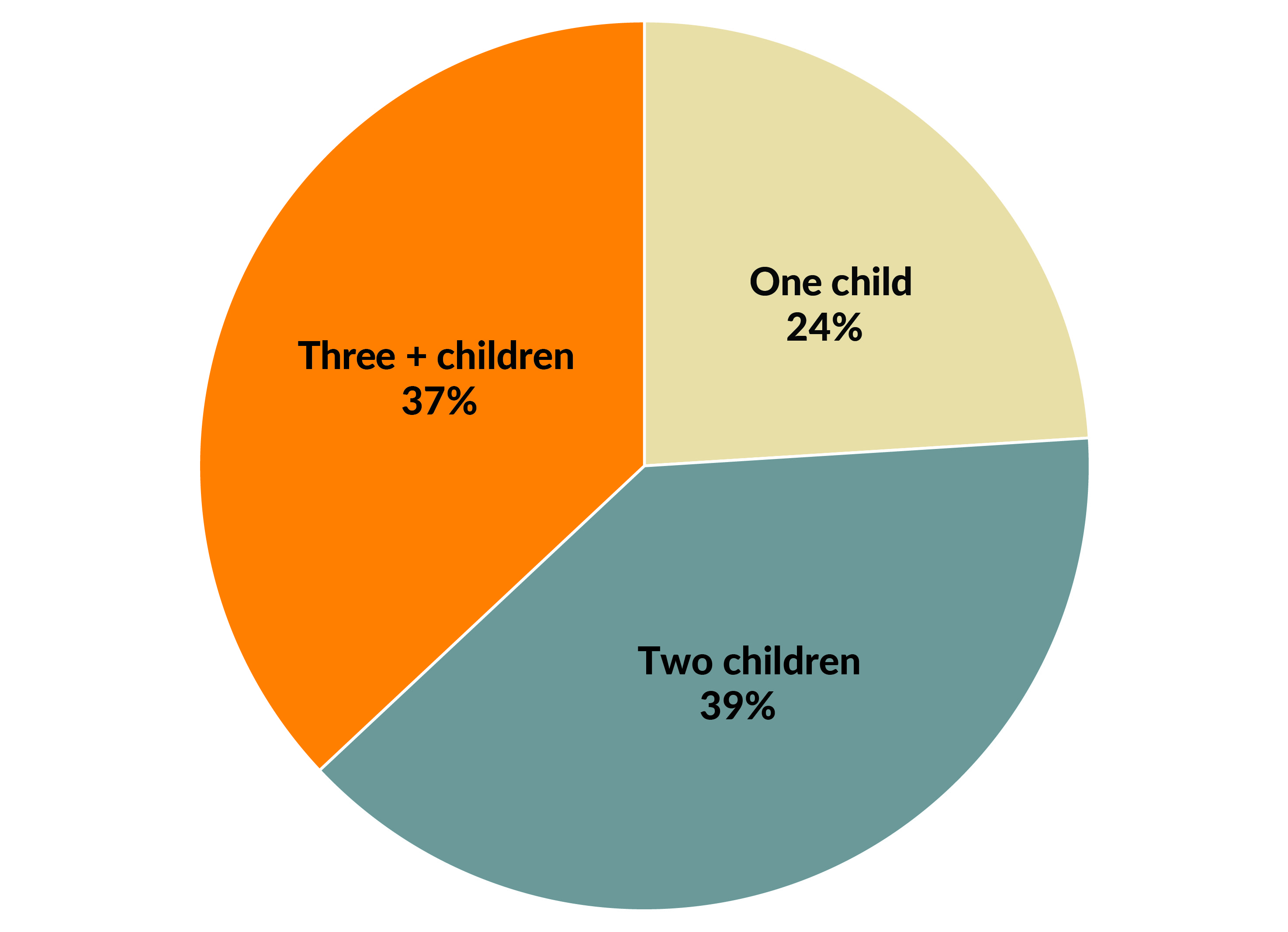 Figure 2. Of the 72 million fathers in the United States, about three-quarters have more than one biological child.