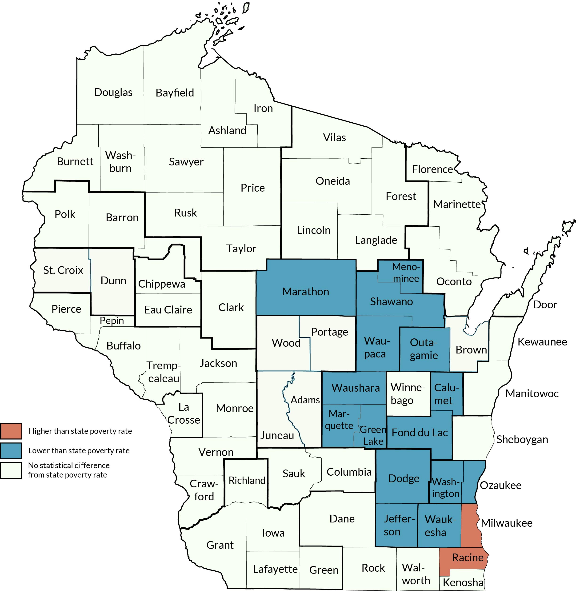 The poverty rates in Milwaukee and Racine Counties were higher than the rest of Wisconsin, while a handful of sub-state areas in the east-central region had lower rates.