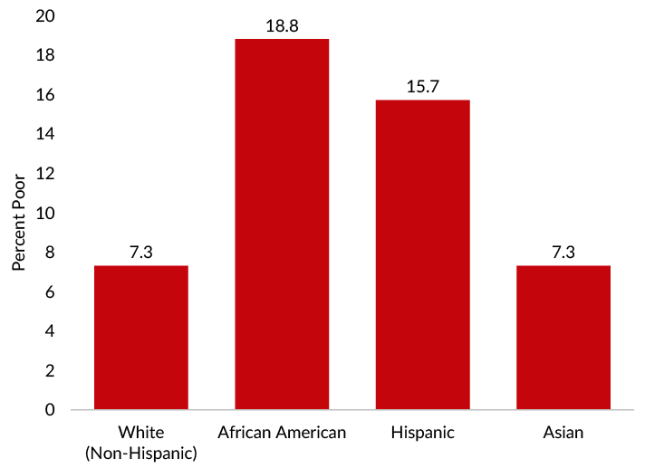 Poverty rates among African Americans were more than twice those of non-Hispanic white and Asian Americans in 2019.