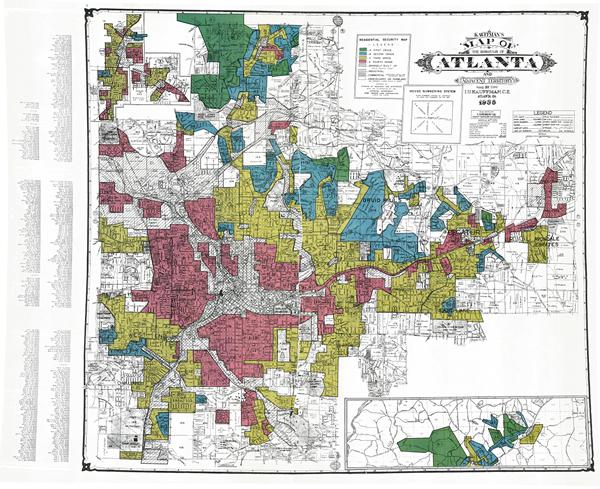 1938 map of Atlanta, Georgia, showing redlining